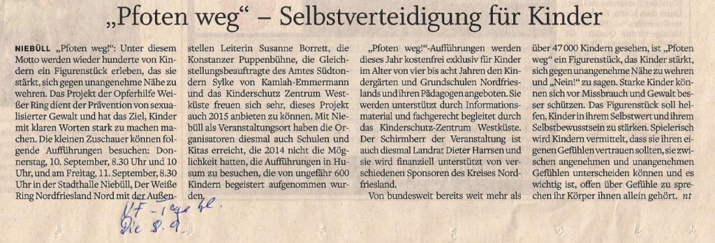 Projekt Pfoten weg! im Nordfriesland Tageblatt vom 8. September 2015
